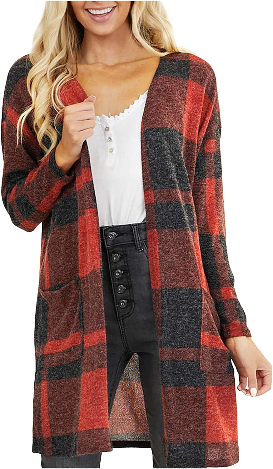 Womens Plaid Long Sleeve Open Front Cardigan Pockets Knit Sweater Coat