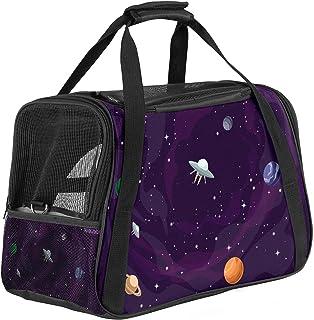 Bärbar resväska för husdjur, flyggodkänd duffelväskor för katt hund kanin med mjuk sida kosmos tryck