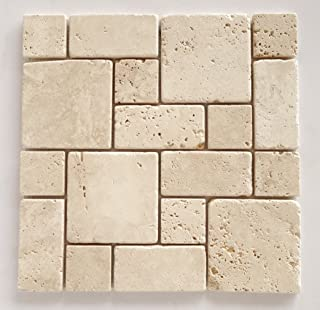 Ivory (Light) Travertine 3-Pieced Mini-Pattern Mosaic Tile, Tumbled - Lot of 15 Sheets