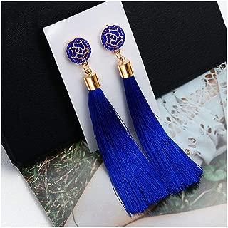 Fashion Bohemian Tassel Crystal Long Earrings White Red Silk Fabric Drop Dangle Tassel Earrings For Women Jewelry