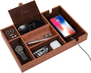 JIADEL Valet Tray for Men, Nightstand Organizer, Table Organizer, EDC Tray, Smartphone Charging Station, Dresser Tray, Catch All, Coffee Faux Leather