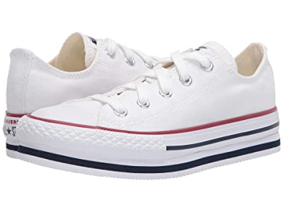Converse Kids Chuck Taylor(r) All Star(r) Platform EVA Ox (Little Kid/Big Kid) (White/Midnight Navy/Garnet) Girl