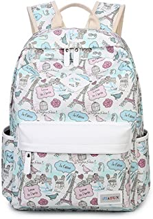 HAPPYTIMEBELT Double Zipper Eiffel Tower Printing School Backpack Student Book Bag(Blue)