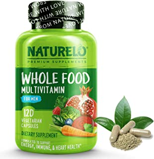 NATURELO Whole Food Multivitamin for Men - with Natural Vitamins, Minerals, Organic Extracts - Vegetarian - Best for Energ...
