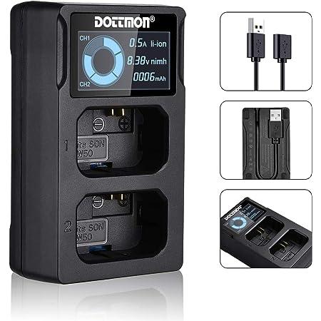 NP-FW50 互換 USB 充電器 デュアルスロット カメラ バッテリーチャージャー LCD付 Sony Alpha A6400, A6000, A6300, A6500, A5100, A7, A7II, A7RII, A7SII, A7S, A7S2, A7R, A7RII, A55, RX10など対応