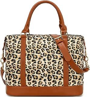Women Ladies Weekender Bag Overnight Carry-on Tote Duffel in Trolley Handle (Leopard Brown)