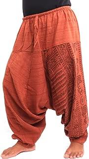 jing shop Aladdin Harem Drawcord Baggy Pants Traditional Print Cotton Mix