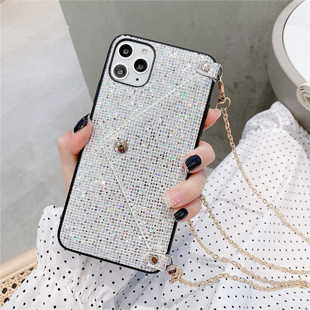 Fashion Lanyard Wallet Phone Case for iPhone 12 Pro 11 XS MAX XR X 7 8 Plus Glitter Bling Rhinestone Crossbody Chain Bag Cover,T2,for iPhone 6 6s
