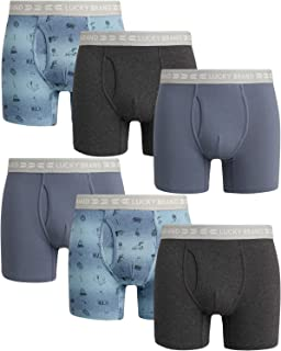 Men's Cotton Stretch Boxer Briefs with Functional Fly (6 Pack)