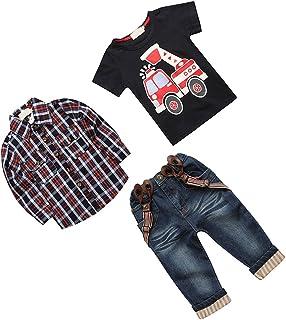 T TOOYFUL 子供の衣装 子供服 男の子 格子柄 ジーンズ デニム Tシャツ サスペンダー ズボン 全6サイズ