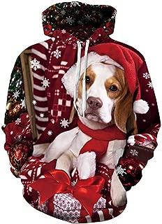 URVIP Unisex Hoodie 3D Printed Christmas Sweatshirt with Big Pockets