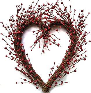 Rustic Twig Red Berry Heart Wreath 20 Inches Pip Berries Valentine's Day Wreath Every Day Indoor Outdoor Farmhouse Decorating Accessory Fits Between Storm Doors