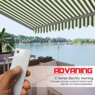 ADVANING 16'X10' Motorized Patio Retractable Awning | Classic Series | Premium Quality, 100% Acrylic UV Sun Shade Awning, Color: Green & Cream Stripes, EA1610-A222H