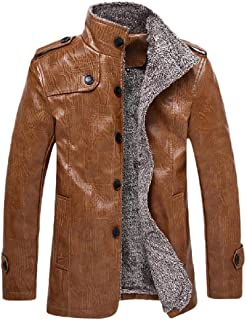 Mens Jacket Leather Biker Jacket Fashion Casual Button Thermal Leather Plush Coat Button Long Trench Coat (Color : Khaki, Size : XXXXL)