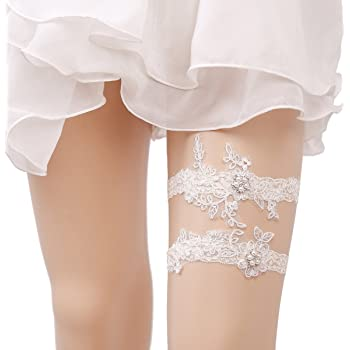 OURIZE Wedding Garters for Bride Lace Garter Belt Bridal Garter Set with Rhinestones