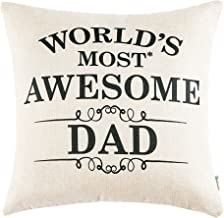 Anickal Christmas Dad Gifts for Dad Best Birthday Gift World's Most Awesome Dad Quote Print Pillow Covers 18x18 Inch for Home Decoration