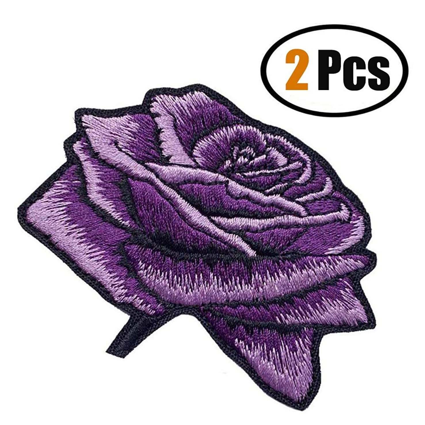 ZOOPOLR 2 Pack Delicate Embroidered Patches, Purple Rose Embroidery Patches, Iron On Patches, Flower Patches,Sew On Applique Patch, Custom Backpack Patches for Women, Girls, Kids