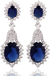 GULICX Vintage Design Long Luxury Oval CZ Stone Silver Tone Blue -Sapphire Color Drop Earrings