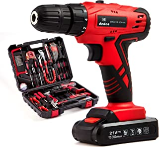 112 Piece Power Tool Combo Kits with Cordless Drill, Professional Household Tools Set with DIY Hand Tool Kits for Garden O...