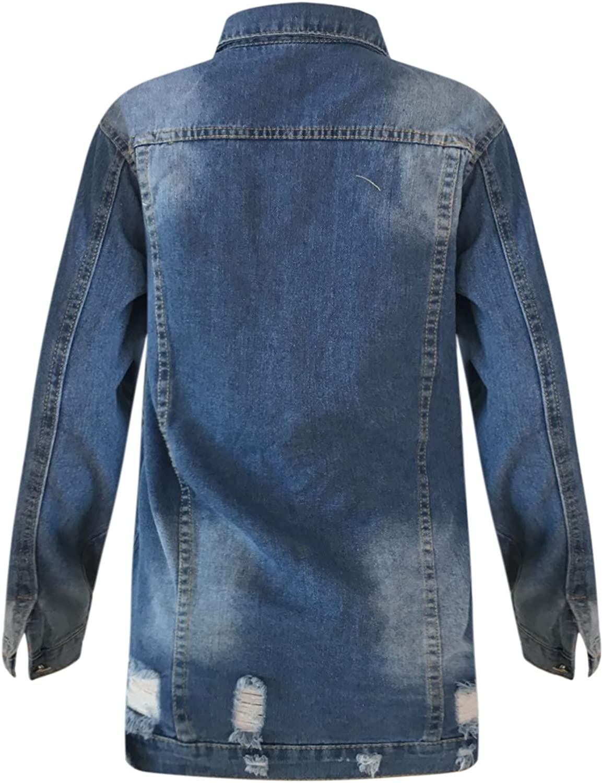 SHOPESSA Women's Denim Coats Mid Length Button Down Jean Jacket Oversize Vintage Long Sleeve Washed Outwear