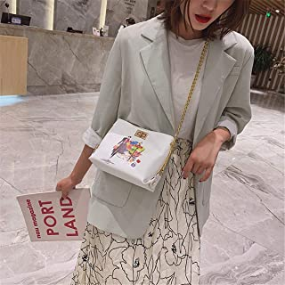 ZZZ One-shoulder Wild Messenger Bag Fashion European And American Printed Chain Bucket Bag Chic fashion (Color : White)