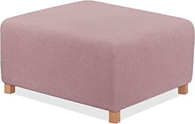 TAOCOCO Ottoman Cover Rectangular Storage Ottoman Slipcover Stretch Footrest Stool Covers Furniture Protectors Spandex Jacquard Fabric with Elastic Band Light Pink