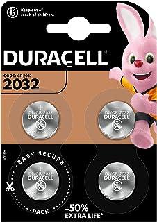 Pile bouton lithium Duracell spéciale 2032 3V, pack de 4 (DL2032/CR2032), conçue pour une utilisation dans les porte-clé...