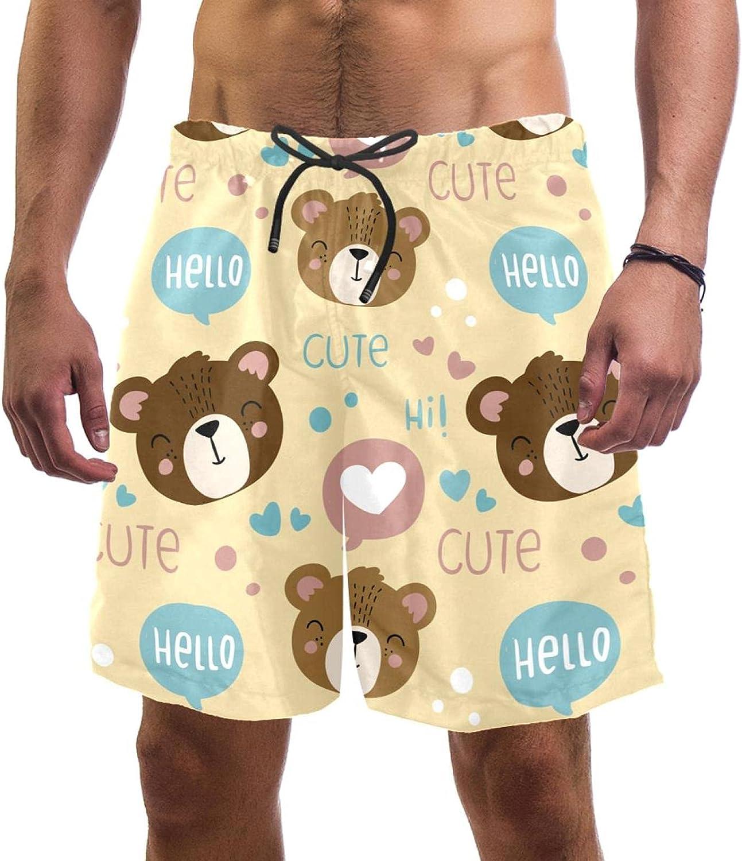 Wanlipous Cute Cartoon Bear Pattern Beach Now free shipping New York Mall Men's Quick Dry Shorts
