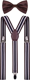 BODY STRENTH Mens Kids Suspenders and Bow Tie Set Adjustable Y Back for Wedding