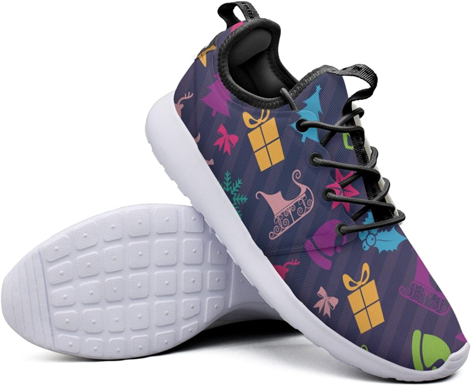Christmas Icons Deer-01 Women's Navy Basketball Sneakers Lightweight Mesh Gym shoes