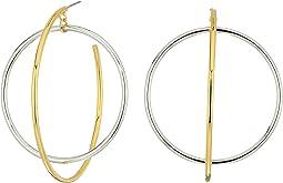 Rebecca Minkoff - Mixed Metal Satelite Hoops Earrings
