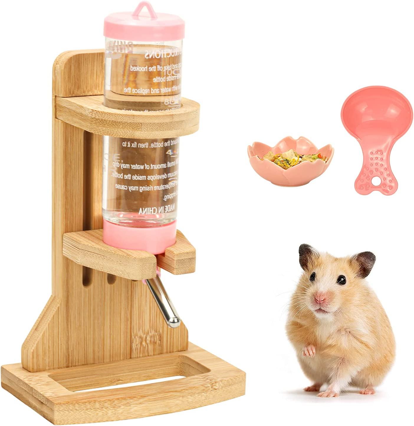 Hamster Water Bottle Stand, Wooden Water Bottle Stand Adjustable Rodent Water Dispenser with Base Auto Rat Water Bottle Holder with Water Bottle Small Food Feeder for Small Animals (H02)
