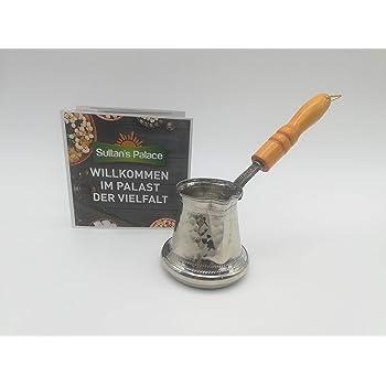 SLHP - Jarra de café de estilo turco de 0,7 l, mini esmalte, 0,5 l, vintage, pequeña jarra de leche con tapa, esmalte, Blanco, 400 ml: Amazon.es: Hogar