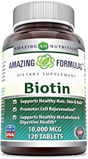 Amazing Formulas Biotin 10000Mcg,120 Tablets (Non GMO,Gluten Free) -Supports Healthy Skin & Hair–Promotes Overall Good Health
