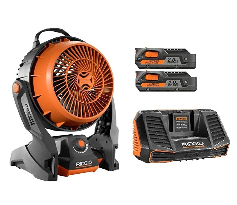 Ridgid 18 Volt gen5x Portable Hybrid Job site Fan R860720 + (2) R840086 Batteries & R840095 Charger