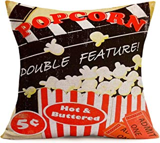 Smilyard Vintage Movie Throw Pillow Covers Hot Popcorn Pattern Decorative Pillow Case Quote Cushion Cover 18x18 Inch Home Decor Sofa Couch (Popcorn 08)