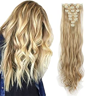 FIRSTLIKE 17-26 inches Full Head Clip in Extensions 8 Piece 18 Clips Long Soft Silky Straight and Curly for Women Fashion