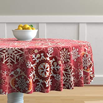 Holiday  Red Cotton Sateen Circle Tablecloth by Spoonflower California Christmas Round Tablecloth California Christmas by jennshvili