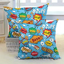 DuckBaby Superhero Polyester Pillowcase Colorful Comic Style Icons Effects Boom Scream Magazine Signs Pop Art Illustarion Cushion W14 x L14 inch x 2 Multicolor
