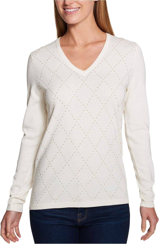 Tommy Hilfiger Womens Argyle V-Neck Pullover Sweater