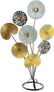 Logbuch-Verlag Objet de décoration à poser 53 cm – Feuilles dorées turquoise rétro – Idée cadeau déco salon chambre à coucher