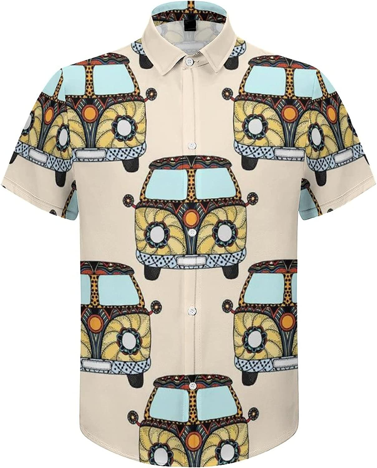 Men's Regular-Fit Short-Sleeve Printed Party Holiday Shirt Happy Peace Bus Car
