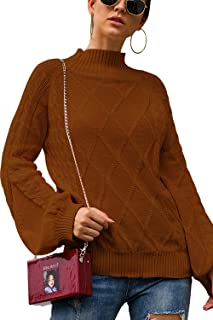 Mulisky Women's Casual Sweater Cable Knit Long Sleeve Mock Turtleneck Pullover Tops