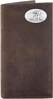 NCAA Alabama Crimson Tide Light Brown Crazyhorse Leather Roper Concho Wallet, One Size