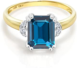 10K 2 Tone Gold London Blue Topaz and Diamond Accent Women's Engagement Ring (2.42 Cttw, Emerald Cut, Available in size 5, 6, 7, 8, 9)