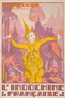 L'Indochine Francaise - Cambodge - Pnompenh Vintage Poster (artist: Ponchin) Vietnam c. 1931 (12x18 Art Print, Wall Decor Travel Poster)