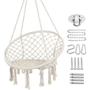 Y- STOP Hammock Chair Macrame Swing, Max 330 Lbs, Hanging Cotton Rope Hammock Swing Chair for Indoor and Outdoor Use (Beige)
