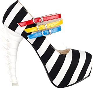 Show Story Black White Stripe 3 Strap Platform Bone Heel Mary Jane Pumps,LF80636