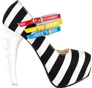 Show Story Black White Stripe 3 Strap Platform Bone Heel Mary Jane Pumps,LF80636