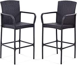 Tangkula Set of 2 Patio Bar Stools Indoor Outdoor Use Wicker Rattan Barstool with Footrest for Garden Pool Lawn Backyard Study Steel Frame Bar ChairsFurniture (Dark Brown 47